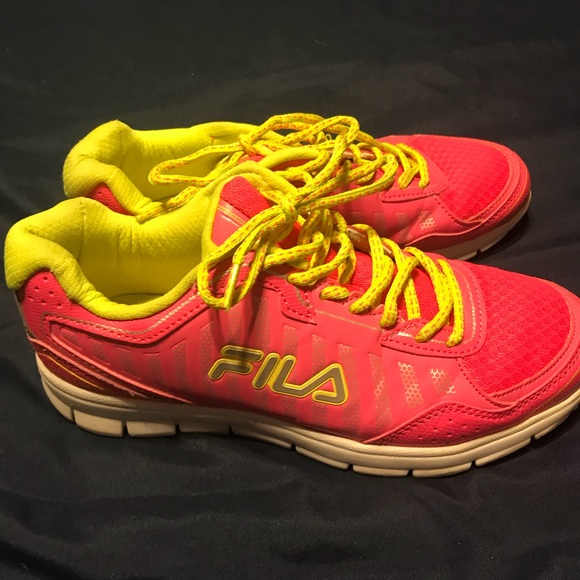 Shoes | Pink And Yellow Fila | Poshmark